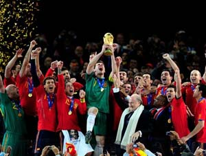 Spain wins the 2010 FIFA World Cup